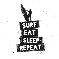 Surf Eat Sleep Repeat Motivational Quote Sticker