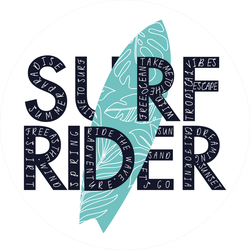 Surf Rider Typography Sticker