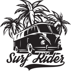 Surf Rider With Palm Trees Sticker