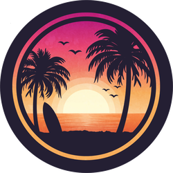 Surfboard On Beach Sunset Sticker