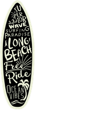 Surfboard Typography Sticker