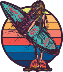 Surfer Girl At Sea Sticker