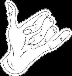 Surfer's Shaka Hand Outline Sticker