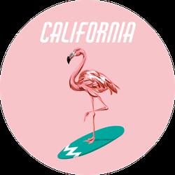 Surfing Flamingo California Sticker
