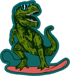 Surfing T-Rex Dinosaur Sticker