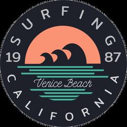 Surfing Venice Beach Circle Sticker