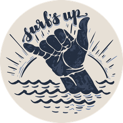 Surfs Up Hang Loose Sticker