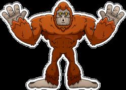 Surprised Cartoon Sasquatch Sticker