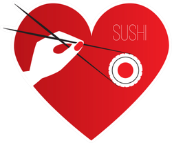Sushi And Chopsticks In Heart Sticker