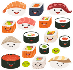 Sushi And Sashimi Rolls Sticker