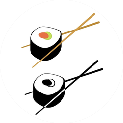 Sushi Color And Monochrome Sticker