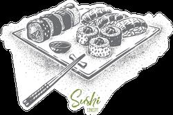Sushi Plate Monochrome Sticker