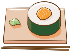 Sushi Roll On Plate With Chopsticks Sticker
