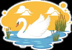 Swan In A Pond Illustration Sticker