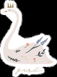 Swan Lake Boho Girl Lettering Sticker