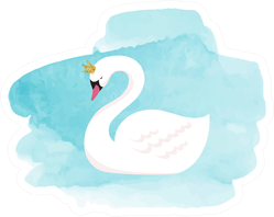 Swan Lake, Illustration, Watercolor On Blue Sticker