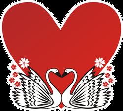 Swan Love Heart Romantic Illustration Sticker