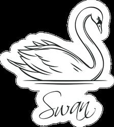 Swan Romantic Lettering Bird Sticker