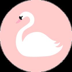 Swan. White Bird Symbol On Pink Sticker
