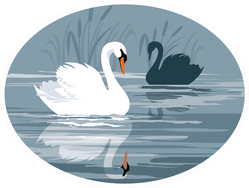 Swans Gliding On The Lake Oval Sticker