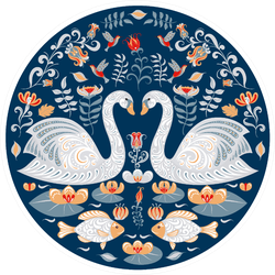 Swans In Circular Decorative Ornament Folk Art Sticker