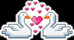 Swans Pixel Art In Love Sticker