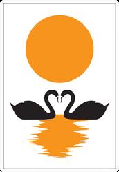 Swans Silhouettes Swimming On Sunlight Illustration Sticker