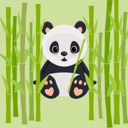Sweet Baby Panda Sitting Between Bamboo Sticker