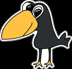 Sweet Black Crow Cartoon Art Sticker