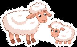 Sweet Cartoon Mother Sheep With Her Cute Lamb Sticker