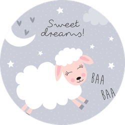 Sweet Dreams Sheep Illustration Sticker