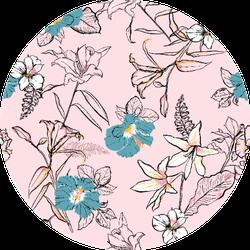 Sweet Hand Drawn Line Sketch Flowers Lilly Sticker