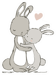 Sweet Hares - Mom And Kid Rabbit Sticker