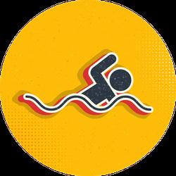 Swim, Man Pop Art, Retro Icon Sticker