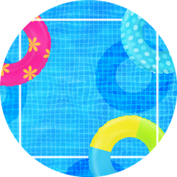 Swim Rings On Swimming Pool Water Background Sticker