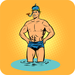 Swimmer In Swimming Trunks And Mask Sticker