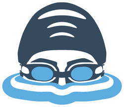 Swimmer's Head With Glasses And Cap For Swimming Sticker