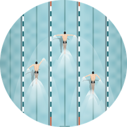 Swimmers In Swimming Pool Top View Sticker
