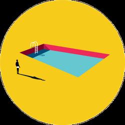 Swimming Pool Cartoon In Bright Sticker