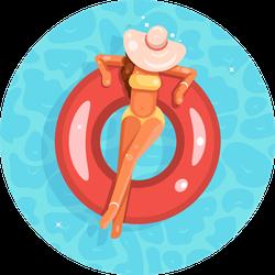 Swimming Pool Female Girl Broad-brim Hat Sticker
