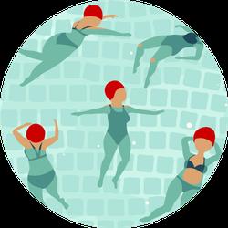 Swimming Women In Pool Sticker