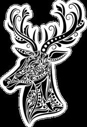 Swirl Pattern Deer Shape Sticker