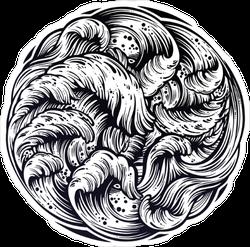 Swirling Waves Illustration Sticker