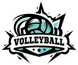 Swoosh Volleyball Logo Sticker