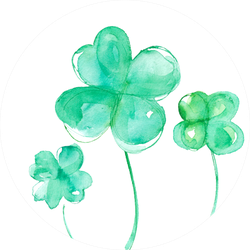 Symbol Of Good Luck, Four Leaf Clover Watercolor Sticker