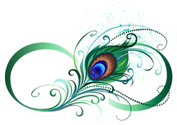 Symbol Of Infinity With Bright Peacock Feather Sticker