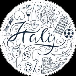 Symbols Of Italy Doodle Sticker