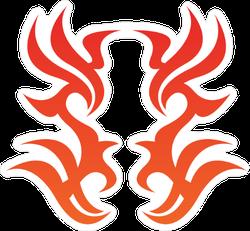 Symmetrical Tribal Flame Decoration Sticker