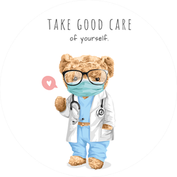 Take Good Care Of Yourself Teddy Bear Doctor Sticker