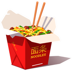 Takeaway Carton Box Noodles Sticker
